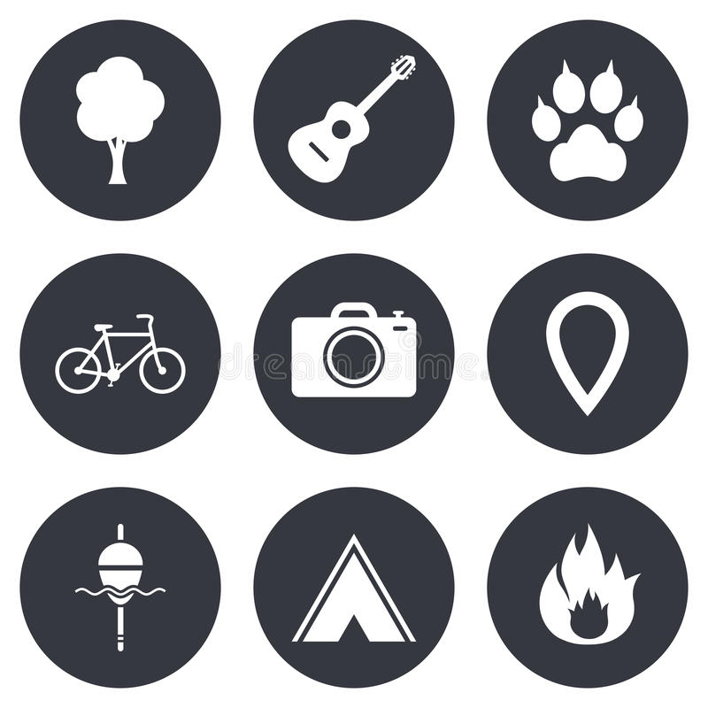 Tourism, camping icons. Fishing, fire and bike stock illustration