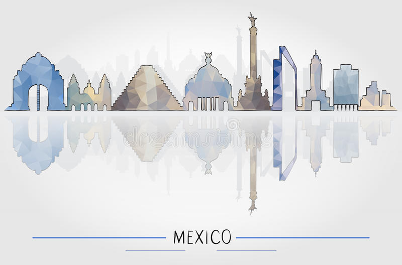 Tourism Concept with Historic Mexico Architecture stock illustration