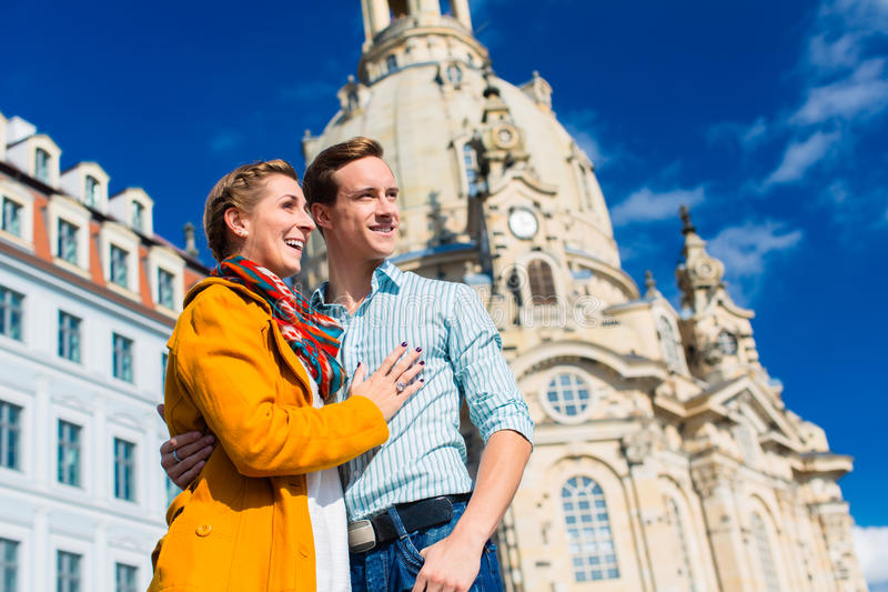 Tourism - couple at Frauenkirche in Dresden stock image