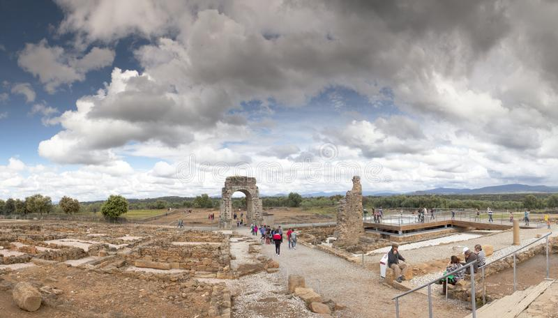Tourism in Extremadura, Spain. Cáparra, Cáceres Spain, April 19, 2019: The Roman city of Cáparra is located in the ancient Roman province of Lusitania royalty free stock photos