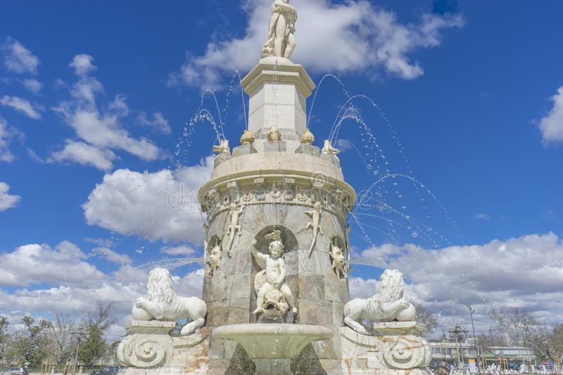 Tourism, Fountain of the Mariblanca in Aranjuez close to the pal royalty free stock images