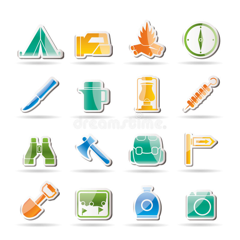 Tourism and hiking icons royalty free illustration