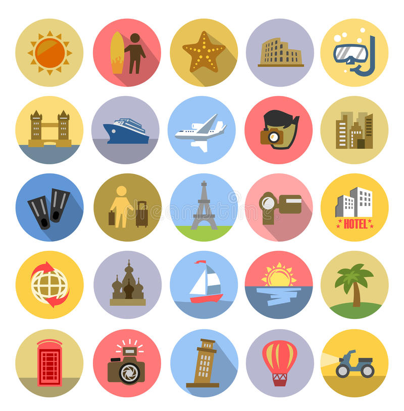 Download Tourism icons se stock vector. Illustration of famous - 40864027