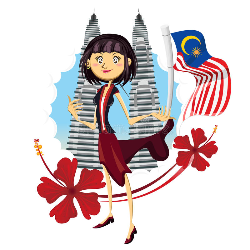 Free Tourism In Malaysia Truly Asia Illustration Royalty Free Stock Image - 58698936