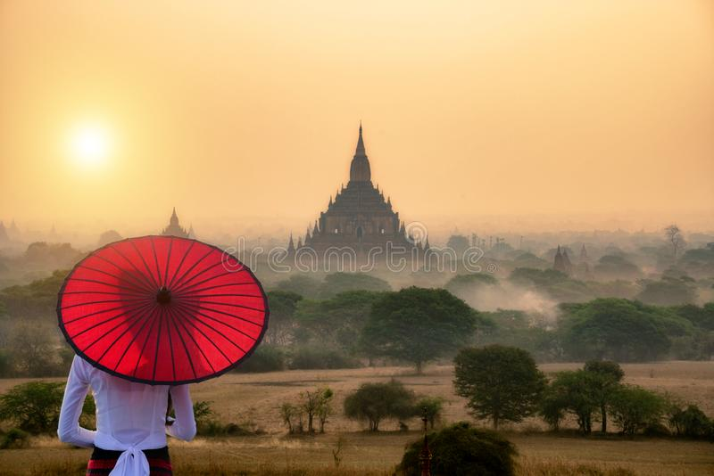 Tourism industry in Bagan Mandalay Myanmar. Landmark of Asia stock photo