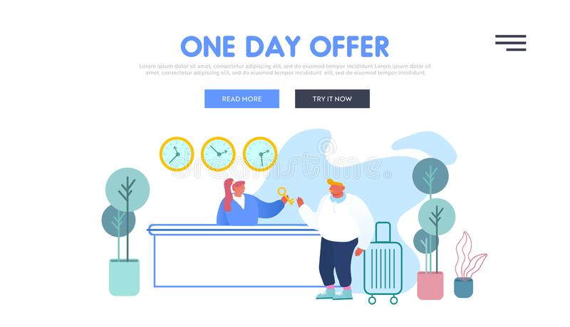 Tourism Inn Service Website Landing Page. Receptionist Stand Behind Lobby Desk Give Room Key to Businessman Guest stock illustration