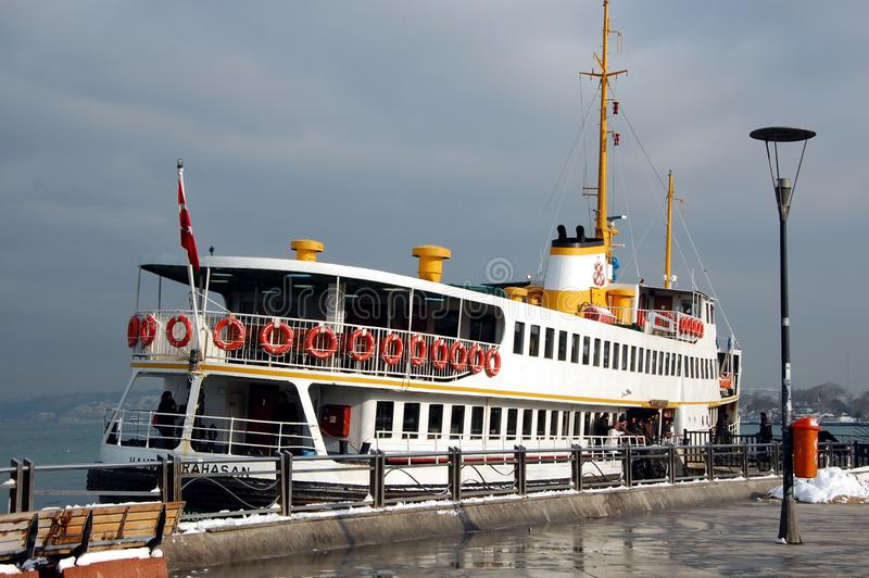 Tourism in Istanbul. ISTANBUL, TURKEY - JAN  9, 2013 - Passenger ferry on Bosphorus in Istanbul, Turkey royalty free stock images