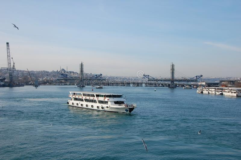 Tourism in Istanbul. ISTANBUL, TURKEY - JAN 10, 2013 - Passenger ferry on Bosphorus in Istanbul, Turkey royalty free stock photo