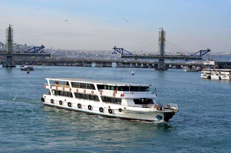 Tourism in Istanbul. ISTANBUL, TURKEY - JAN 10, 2013 - Passenger ferry on Bosphorus in Istanbul, Turkey stock images