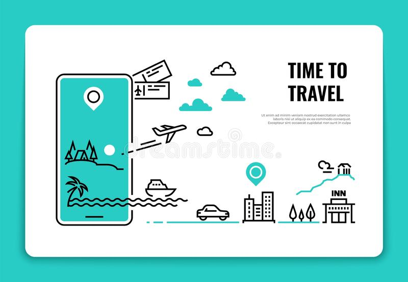 Tourism line concept. Travel destination summer vacation traveling agency hotel website airplane route concept. Tour. Vector background sign vector illustration