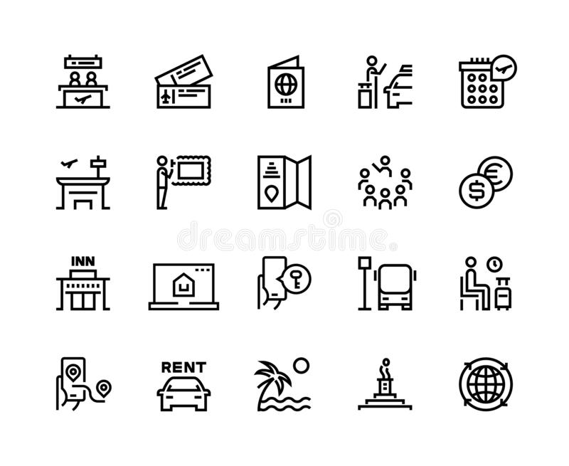 Tourism line icons. Travel holiday resort airplane vacation ticket tourism agency bus car rent transport. Hotel tourism. Vector set stock illustration