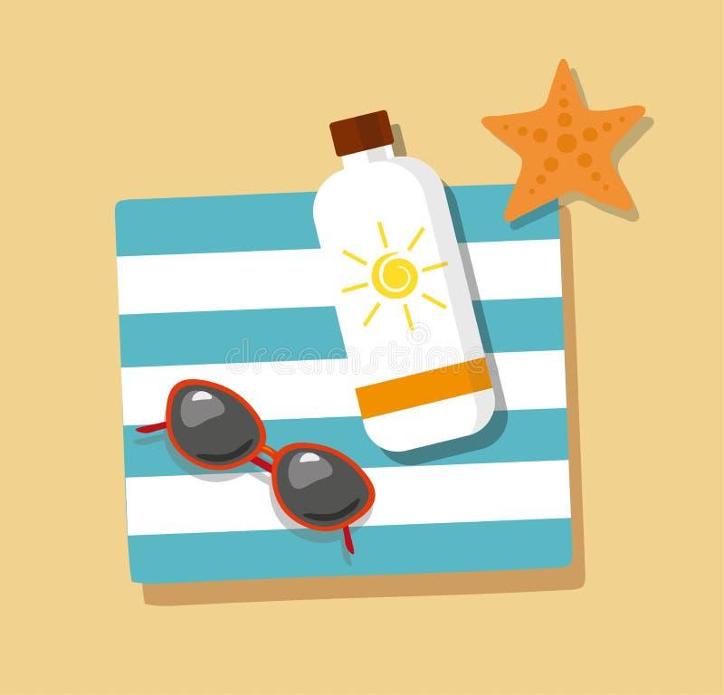 tourism Os flip-flops no lixam com toalha, óculos de sol e creme de bronzeado ilustração royalty free