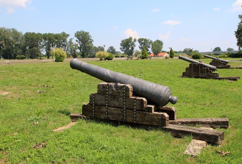 Tourism in Osijek, Croatia / Ottoman Empire Cannons. Ancient Turkish Empire guns, tourist attraction in Osijek, Croatia stock image