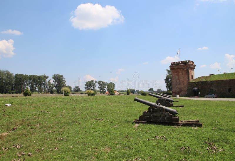 Tourism in Osijek, Croatia / Ottoman Empire Guns And Tower. Ancient Turkish Empire guns and citadel tower, tourist attraction in Osijek, Croatia royalty free stock photo