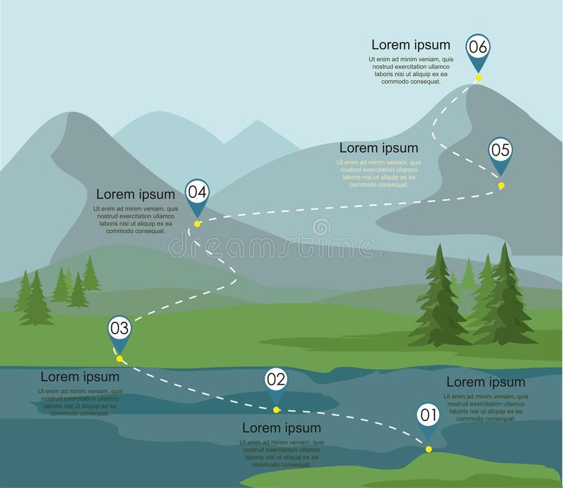 Tourism route infographic. Layers of mountain landscape with fir forest and river. Vector illustration royalty free illustration
