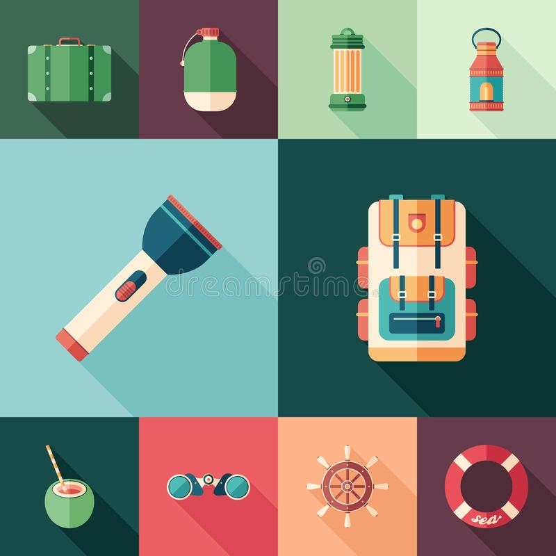 Tourism set of flat square icons with long shadows. stock illustration