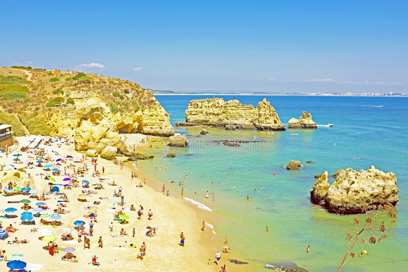 Tourism at the southcoast near Lagos in Portugal royalty free stock images