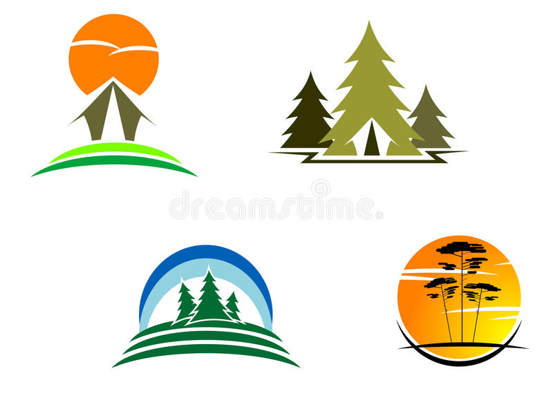Tourism symbols royalty free illustration
