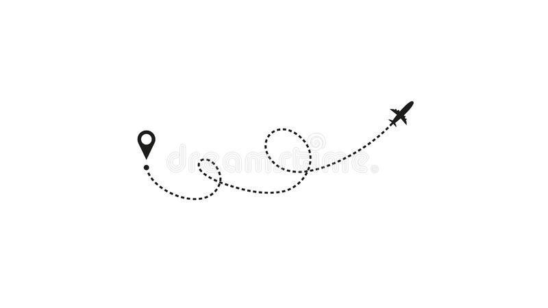 Tourism and travel concept. Airplane line path on white background. Vector icon of air plane flight route with dash line vector illustration