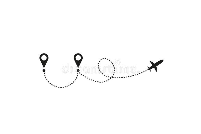 Tourism and travel concept. Airplane line path on white background. Vector icon of air plane flight route with dash line stock illustration