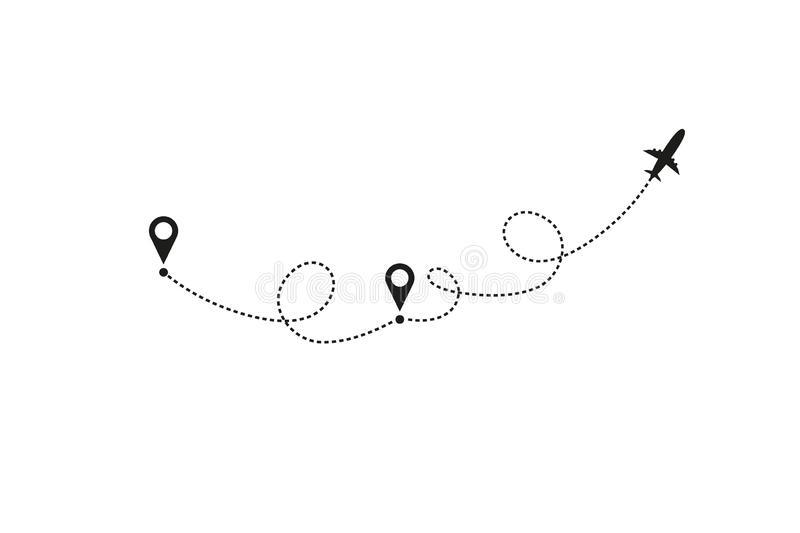 Tourism and travel concept. Airplane line path on white background. Vector icon of air plane flight route with dash line royalty free illustration