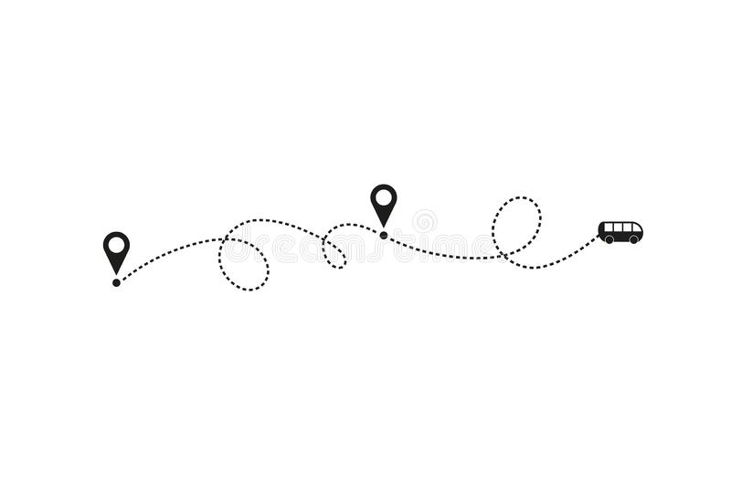 Tourism and travel concept. Bus line path on white background. Vector icon of bus route with dash line trace, start royalty free illustration
