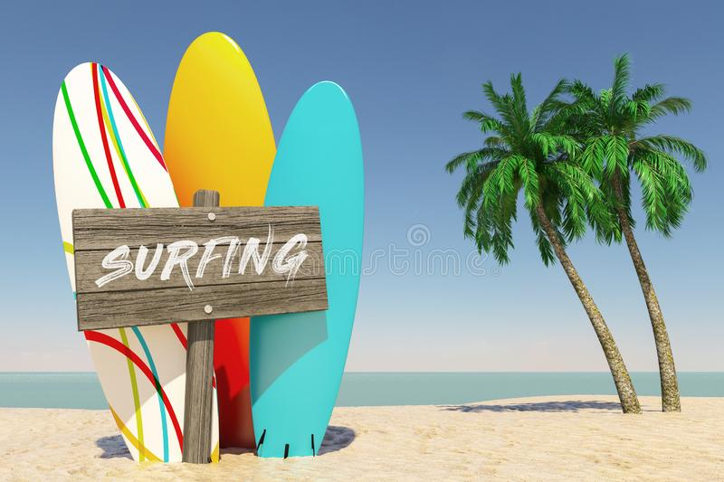 Tourism and Travel Concept. Colorful Summer Surfboards with Surfing Wooden Direction Signbard in Tropical Paradise Beach with stock photography