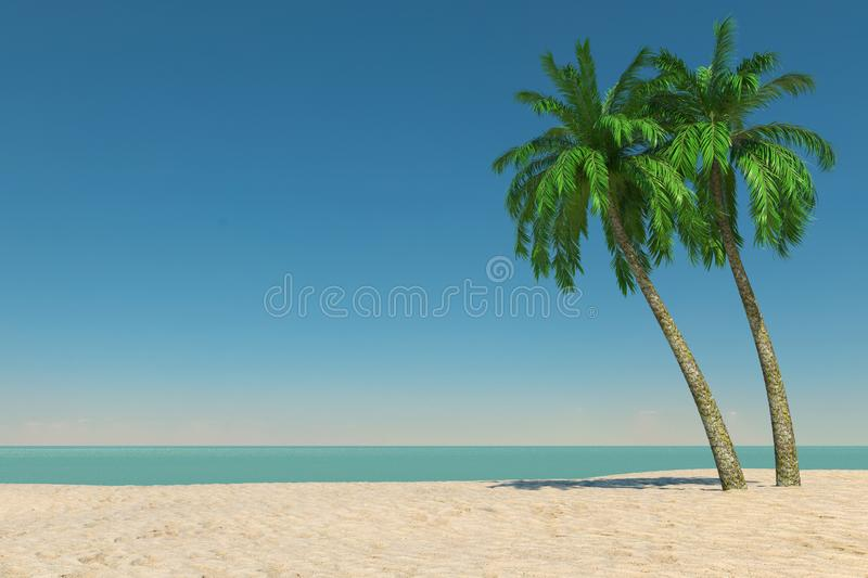 Tourism and Travel Concept. Empty Tropical Paradise Beach with White Sand and Coconut Palm Trees. 3d Rendering stock illustration