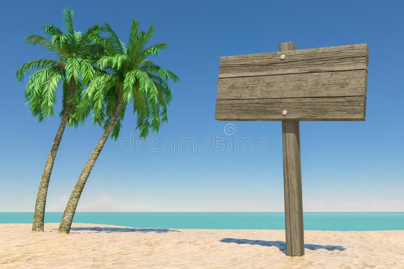 Tourism and Travel Concept. Empty Wooden Direction Signbard in Tropical Paradise Beach with White Sand and Coconut Palm Trees. 3d stock images