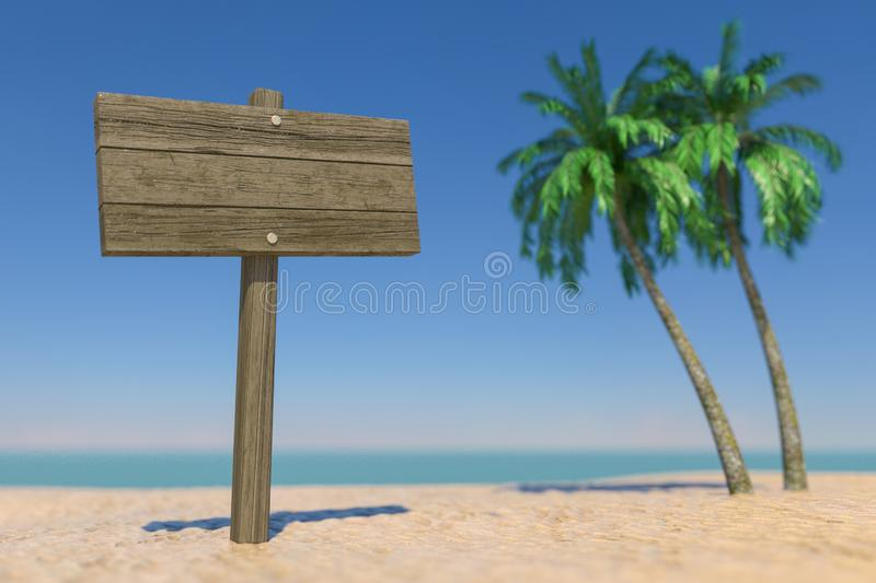 Tourism and Travel Concept. Empty Wooden Direction Signbard in Tropical Paradise Beach with White Sand and Coconut Palm Trees. 3d stock photo
