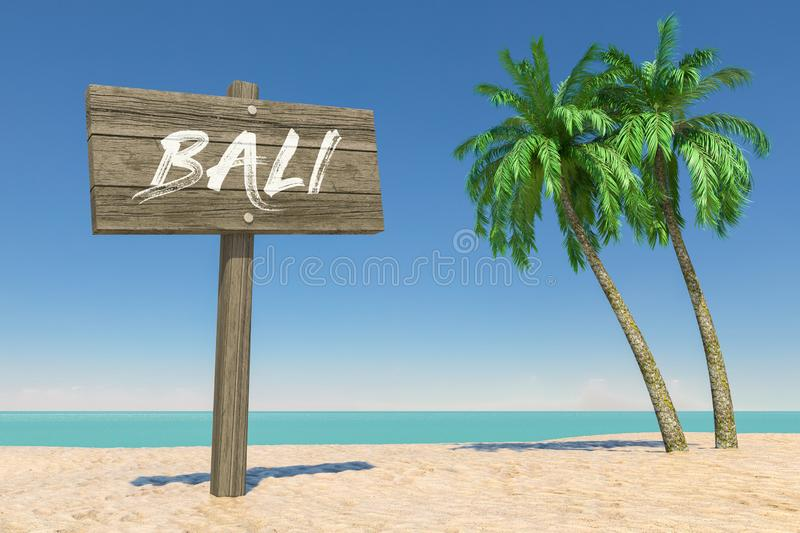 Tourism and Travel Concept. Wooden Direction Signbard with Bali Sign in Tropical Paradise Beach with White Sand and Coconut Palm stock photography