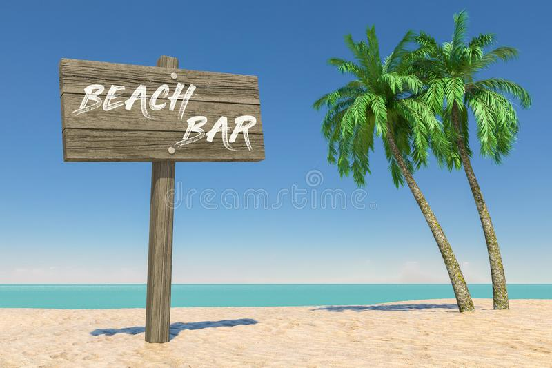 Tourism and Travel Concept. Wooden Direction Signbard with Beach Bar Sign in Tropical Paradise Beach with White Sand and Coconut stock image