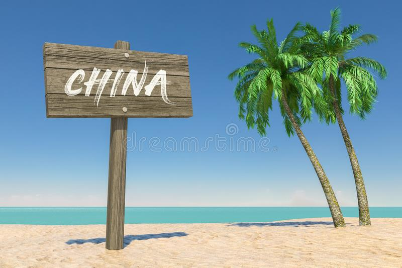 Tourism and Travel Concept. Wooden Direction Signbard with China Sign in Tropical Paradise Beach with White Sand and Coconut Palm stock photography