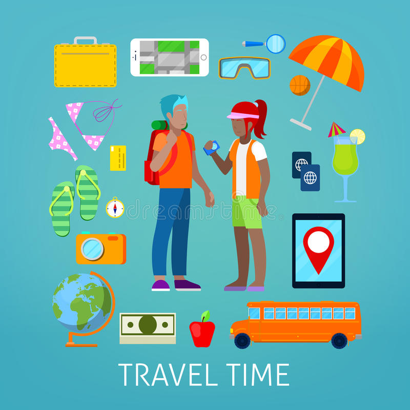 Tourism and Travel Icons Set with Tourist Couple royalty free illustration