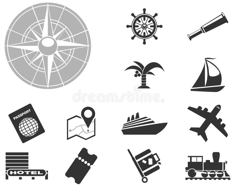Tourism and Travel Icons. Tourism and Travel simply symbols for web and user interface royalty free illustration