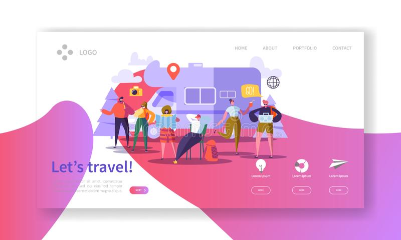 Tourism and Travel Industry Landing Page. Summer Traveling Holiday Vacation with Flat People Characters Website Template stock illustration