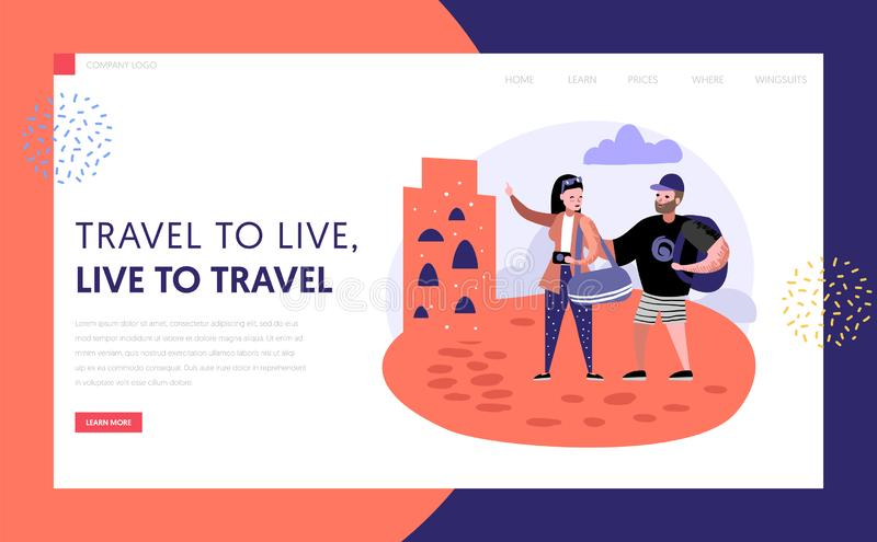 Tourism and travel landing page template people stock illustration