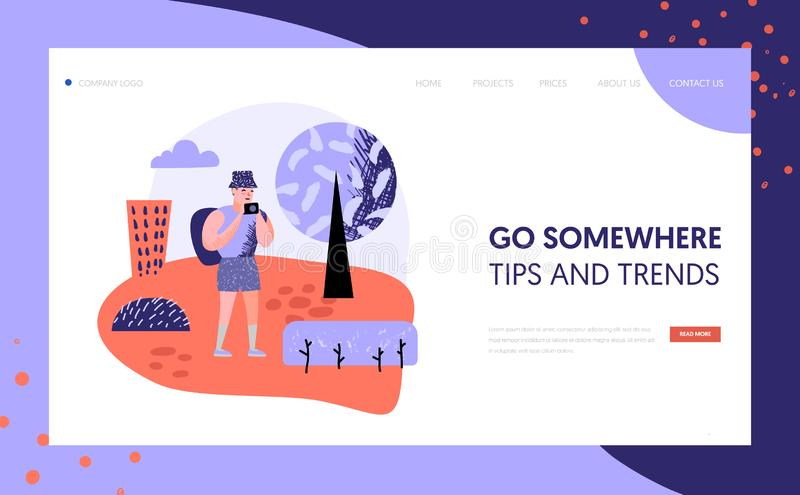 Tourism and travel landing page template people. Tourism and travel landing page template. Flat people characters travelling on vacation concept. Man with photo royalty free illustration