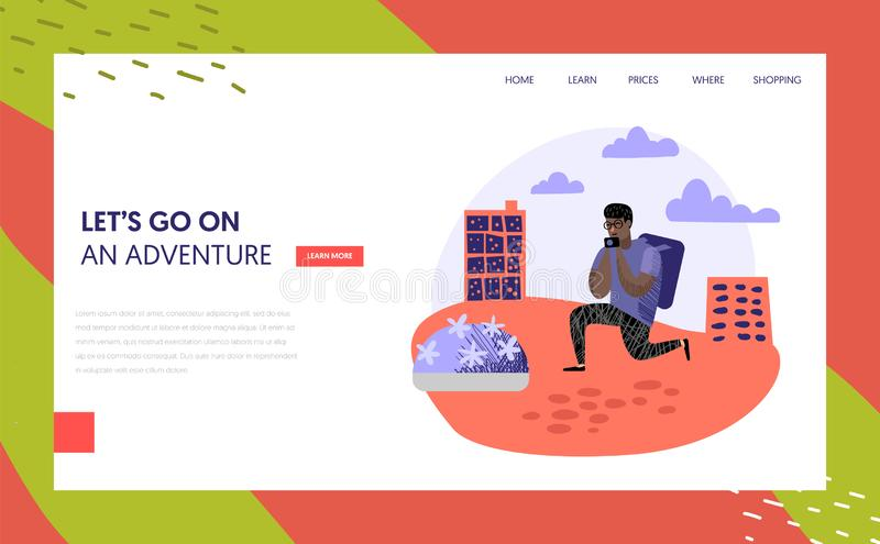 Tourism and travel landing page template people. Tourism and travel landing page template. Flat people characters travelling on vacation concept. Man with photo vector illustration