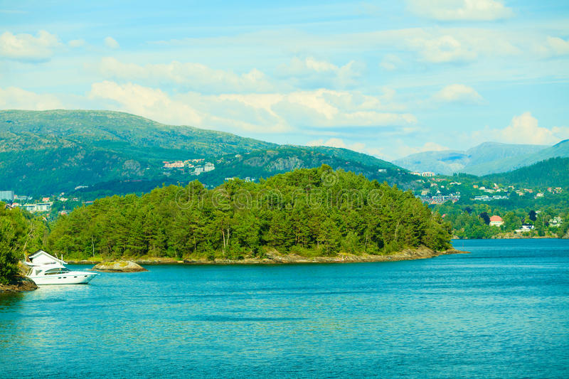 Tourism and travel. Landscape and fjord in Norway. royalty free stock image