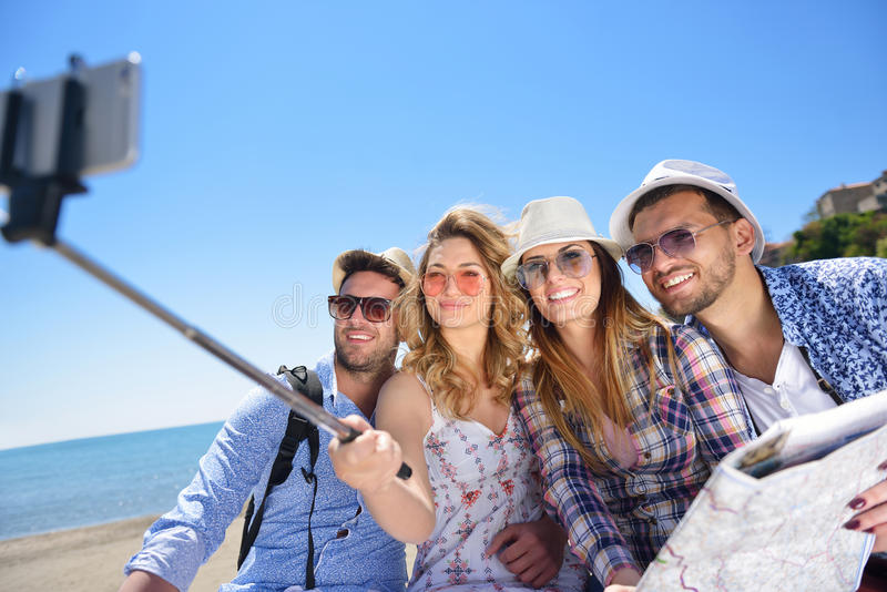 Tourism, travel, people, leisure and technology concept royalty free stock photos