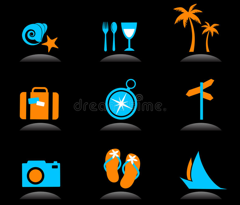 Tourism and vacation icons and logos - 3 vector illustration