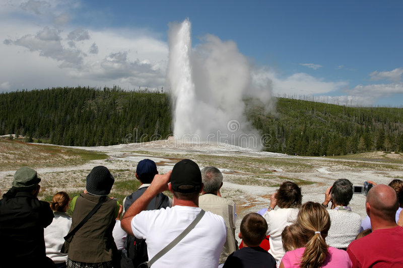 Tourism in yellowstone royalty free stock image