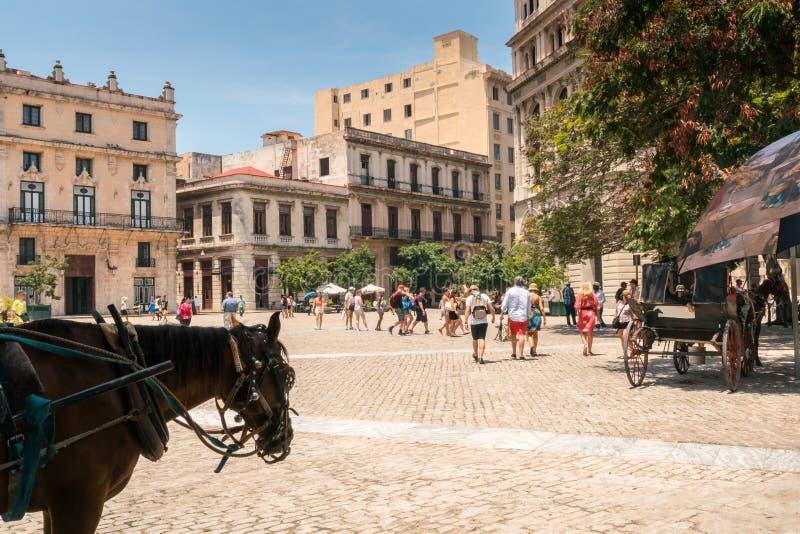 Tourisme à vieille La Havane, Cuba photos stock