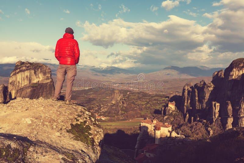 Tourisme dans Meteora image libre de droits