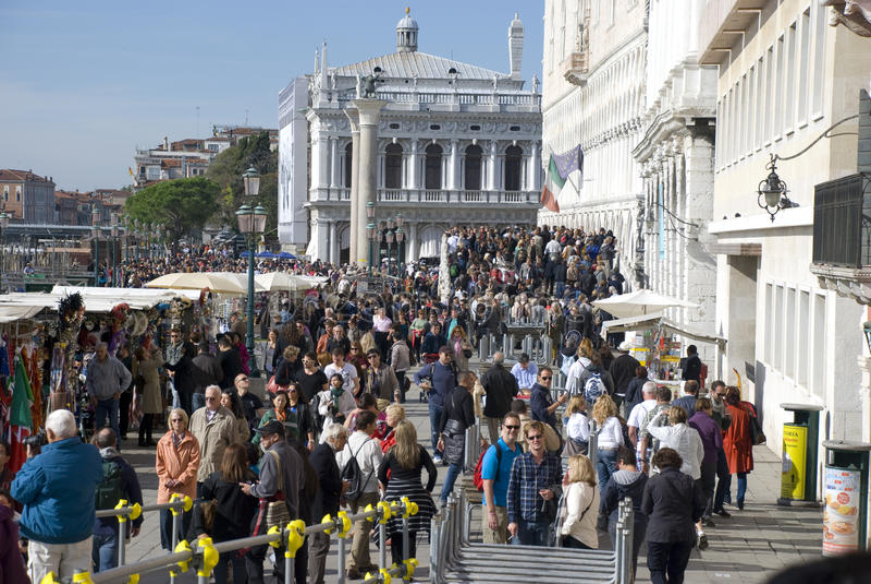 Tourisme de masse à Venise, Italie photo stock