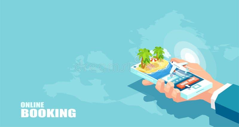 Tourisme de vacances de vecteur et réservation en ligne de concept de billets d'avion Paquet de achat de voyage illustration libre de droits