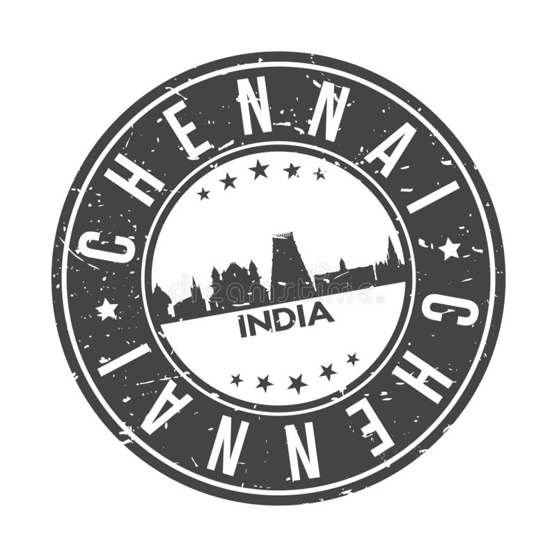 Tourisme de voyage de vecteur de timbre de conception d'horizon de ville de bouton de Chennai Inde Asie en rond illustration libre de droits