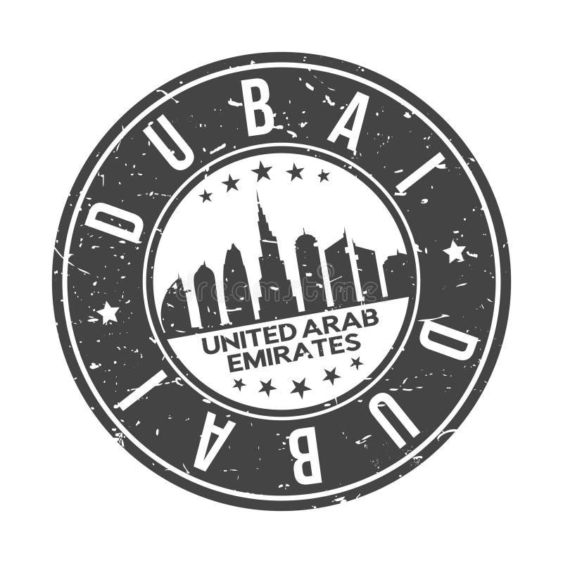 Tourisme de voyage de vecteur de timbre de conception d'horizon de ville de bouton de Dubaï Emirats Arabes Unis en rond illustration de vecteur