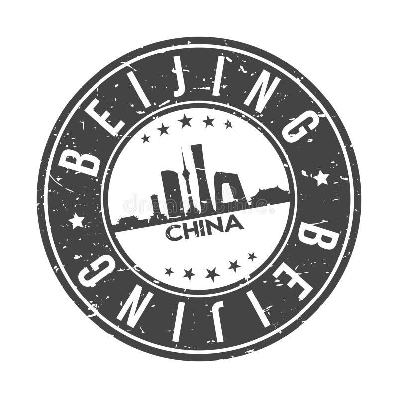 Tourisme de voyage de vecteur de timbre de conception d'horizon de ville de bouton de Pékin Chine Asie en rond illustration libre de droits
